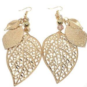 Gold Leaves & Crystal Boho Dangle Drop Earrings